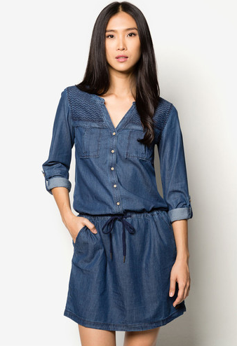 esprit drawstring denim dress